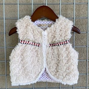 Baby Girl's Boho Ivory Faux Fur Trim Warm Vest